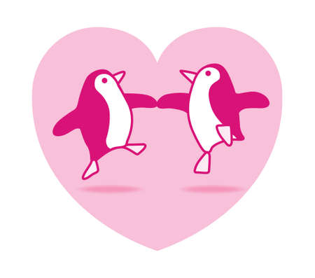 Two Happy Pink Penguins Dancing in a Pink Heart on White Background Vector