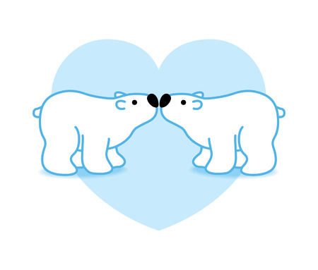 Two Blue Pink Arctic Polar Bears with Black Noses Kissing in Heart Graphic Vector