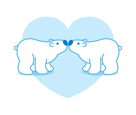 arctic landscape: Two Blue Pink Arctic Polar Bears with Blue Noses Kissing in Heart Graphic