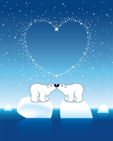 Two Arctic Polar Bears on Icebergs under Heart Shaped Stars Vector