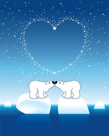 under heart: Two Arctic Polar Bears on Icebergs under Heart Shaped Stars
