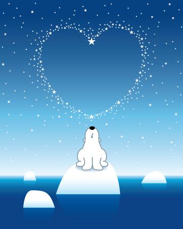 lonesome: Arctic Polar Bear on Iceberg Horizon under a Heart Shaped Stars Illustration