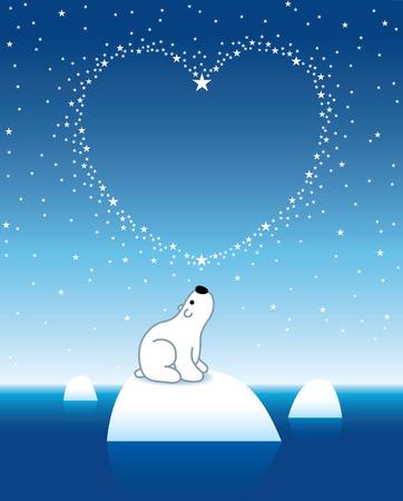 under heart: Arctic Polar Bear on Iceberg horizon under Heart Shaped Stars