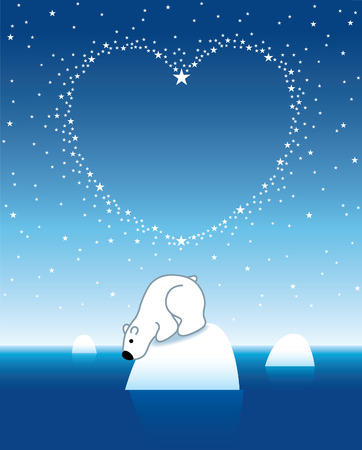 Arctic Polar Bear on Iceberg horizon under Heart Shaped Stars Vector