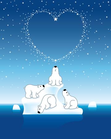 Four Arctic Polar Bears on Iceberg under Heart Shaped Stars Vector