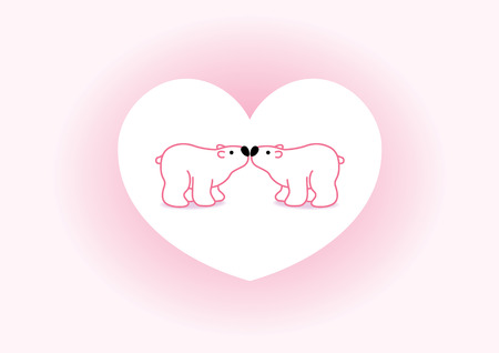 Two Pink Arctic Polar Bears with Black Noses Kissing in Heart Graphic Vector