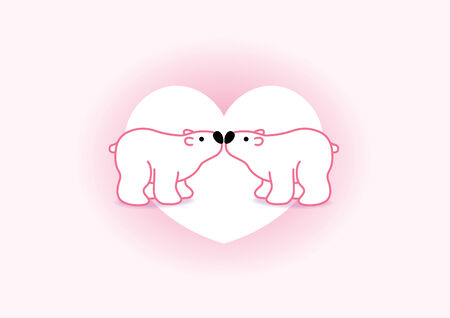 arctic landscape: Two Pink Arctic Polar Bears with Black Noses Kissing in Heart Graphic