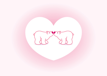 Two Pink Arctic Polar Bears with Pink Noses Kissing in Heart Graphic Vector