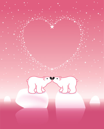 Two Arctic Polar Bears on Icebergs under a Heart Shaped Starry Pink Sky Vector