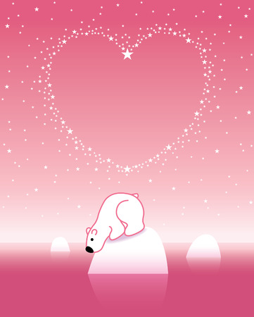 Arctic Polar Bear on Iceberg under a Heart Shaped Starry Pink Sky