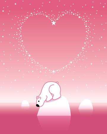 lonesome: Arctic Polar Bear on Iceberg under a Heart Shaped Starry Pink Sky