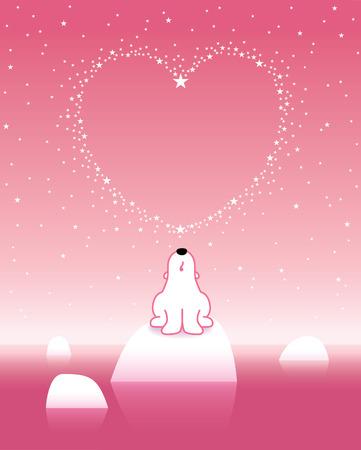 Arctic Polar Bear on Iceberg under a Heart Shaped Starry Pink Sky Vector