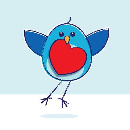 bluebird: Flying Bluebird holding Red Heart Illustration