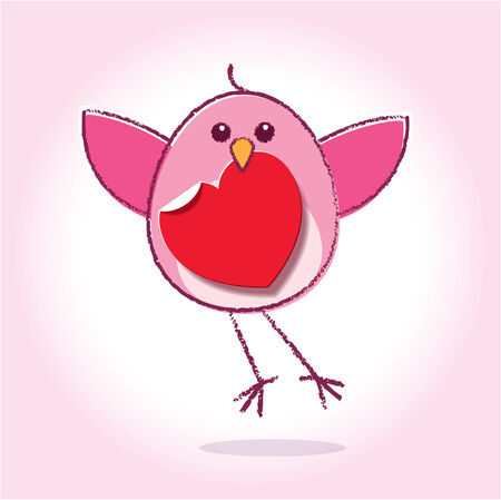 Flying Pink Love Bird holding a Red Paper Heart Vector