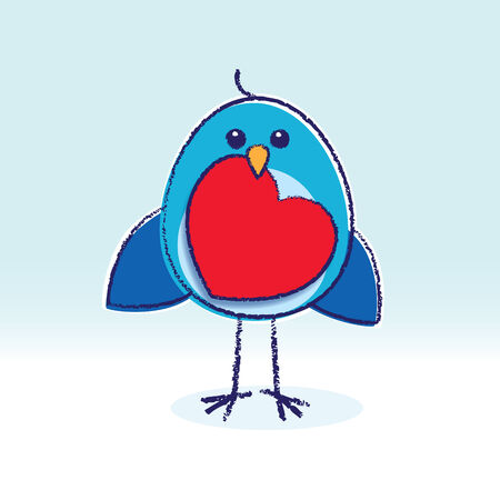 Staring Bluebird Holding a paper Red Heart Vector