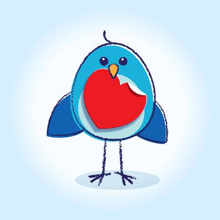 Staring Bluebird Holding a Paper heart Vector
