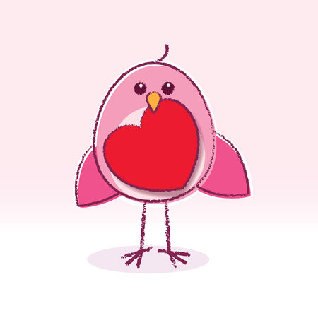 Staring Pink Love Bird holding a Red Heart Vector