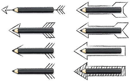 overlaying: Black Pencils Overlaying Various styles of Drawn Arrows