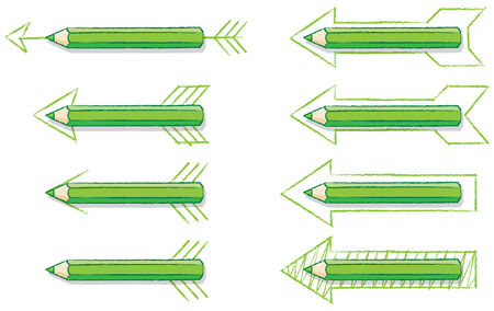 overlaying: Green Pencils Overlaying Various styles of Drawn Arrows