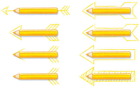 point and shoot: Yellow Pencils Overlaying Various styles of Drawn Arrows