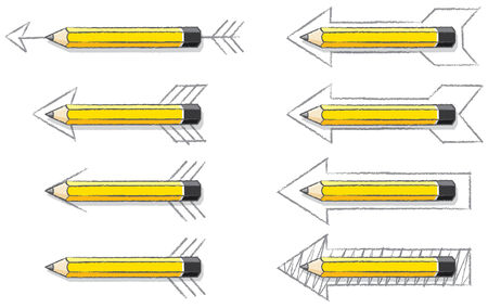 overlaying: Yellow Lead Pencils Overlaying Various styles of Drawn Arrows