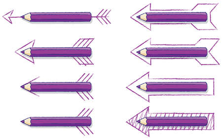 overlaying: Purple Pencils Overlaying Various styles of Drawn Arrows Illustration