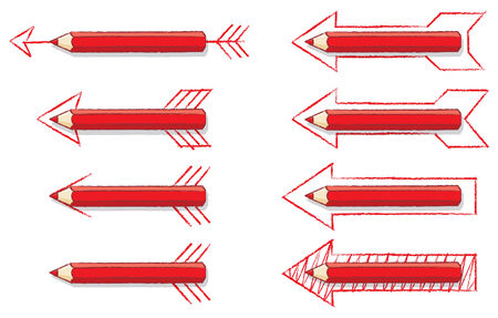 Red Pencils Overlaying Various styles of Drawn Arrows Vector