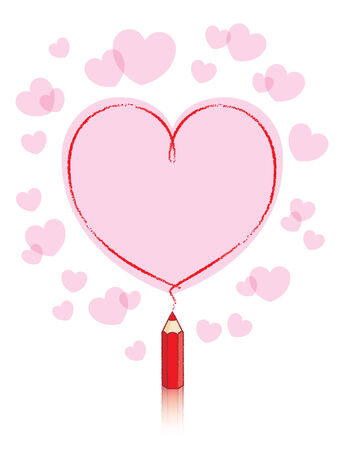 Pink filled Love Message Drawn by Small Red Pencil Vector