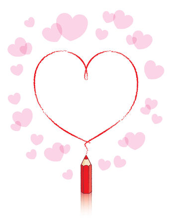 Empty Love Heart Drawn by Small Red Pencil Vector