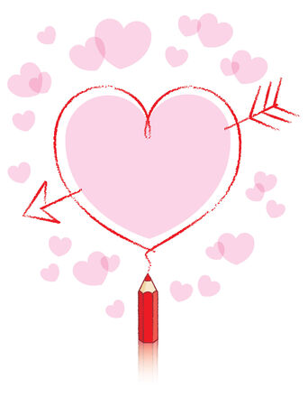 Filled Love Heart with Cupids Arrow Drawn by Small Red Pencil Vector