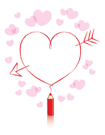 pledge: Empty Love Heart with Cupids Arrow Drawn by Small Red Pencil