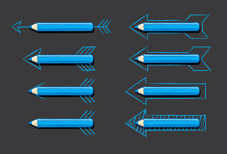 overlaying: Blue Pencils Overlaying Various styles of Drawn Arrows with shadow over Black Background Illustration