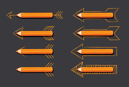 overlaying: Orange Pencils Overlaying Various styles of Drawn Arrows