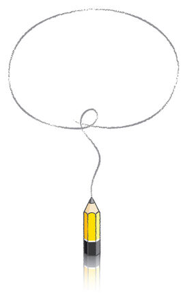 Empty Oval Message Bubble Drawn by Small Yellow Lead Vector