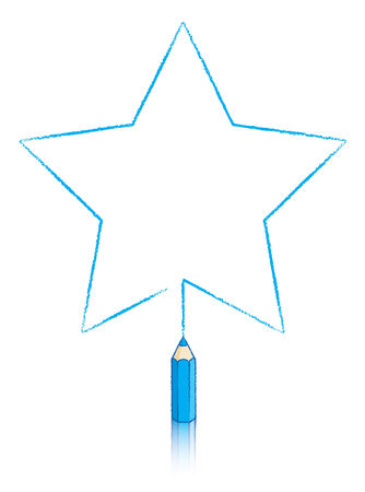 pointed to: Five pointed star drawn by Blue pencil Illustration