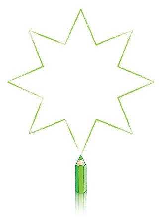 puntig: Achtpuntige Star getrokken door Green potlood Stock Illustratie