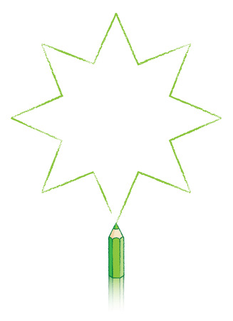 pointed to: Eight pointed Star Drawn by Green pencil Illustration