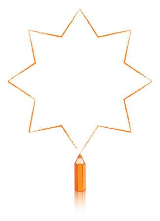 puntig: Achtpuntige Star Getrokken door Orange potlood Stock Illustratie