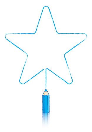 puntig: vijf ronde puntige ster getrokken door Blauw potlood
