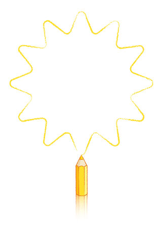 five pointed: Twelve pointed Star Drawn Yellow pencil