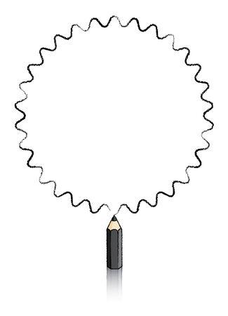 puntig: Dertig ronde gerichte Ster getekend door de zwarte potlood