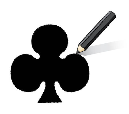 Black Pencil Drawing Clubs Playing Card Icon Illustration