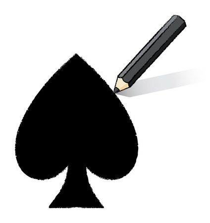 Black Pencil Drawing Spades Playing Card Icon Vector