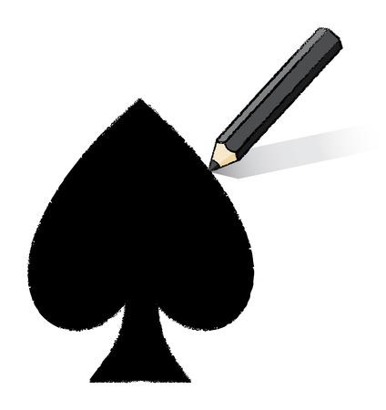 Black Pencil Drawing Spades Playing Card Icon Vector