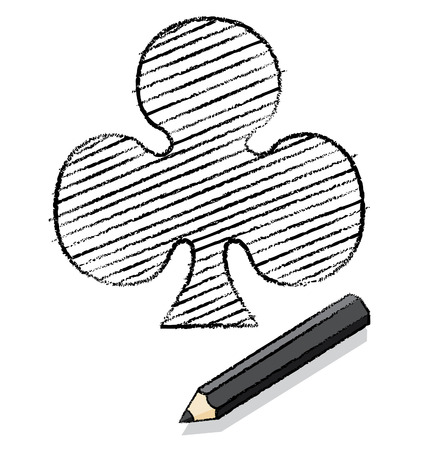 Clubs Playing Card Icon Drawn by Black Pencil
