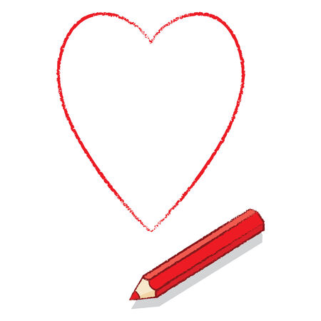 Red Pencil Drawn Outline of Hearts Playing Card Icon Vector