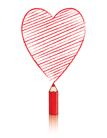 declare: Red Pencil Drawing Ace of Hearts Playing Card Icon