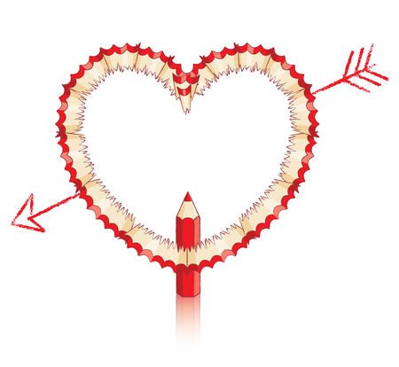 Red Pencil Shavings in Shape of Heart with Drawn Arrow and Red Pencil