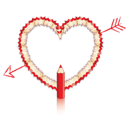 shavings: Red Pencil Shavings in Shape of Heart with Drawn Arrow and Red Pencil