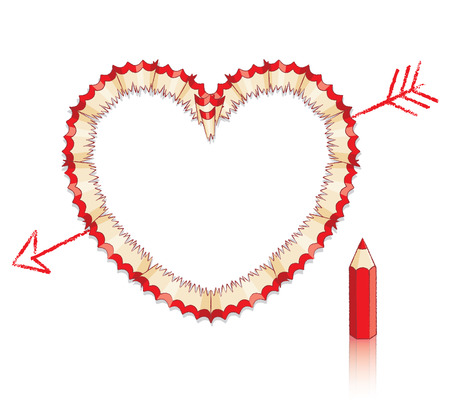 Red Pencil Shavings in Shape of Heart with Drawn Arrow and Red Penci